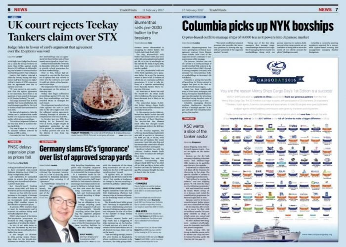 """""""Thank You"""" page in the 17th of February edition of Tradewinds to thank all the participants of the Cargo Day"""