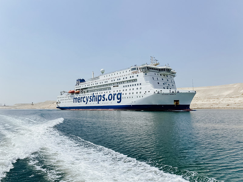 The Global Mercy sailing in the Suez Canal